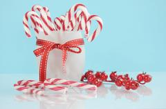Christmas holiday dessert party candy canes in modern red and white trend on  Stock Photos