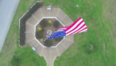 Top view slow zoom large American flag Stock Footage