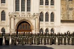 LONDON - OCTOBER 28TH: The royal marines on parade at the guildhall on Octobe - stock photo