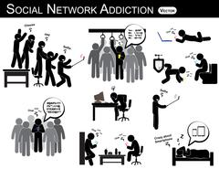 Social network addiction . a man use smartphone every time , everywhere ( in Stock Illustration