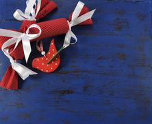 Christmas holiday festive natural style wood red polka dot bird and handmade  - stock photo