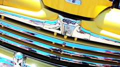 50s Yellow Ford Truck front grill chrome - stock footage