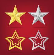 Glitter golden and siverChristmas Star - stock illustration