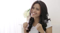 happy excited young woman - stock footage