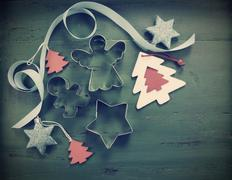 Retro vintage filter style Christmas holiday background with red, white, fest - stock photo