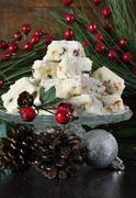 Christmas holiday traditional White Christmas confectionery chocolate against Stock Photos