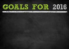Goals for 2016 - chalkboard illustration - stock illustration
