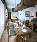 Stock Illustration of Dining room, rustic and modern style