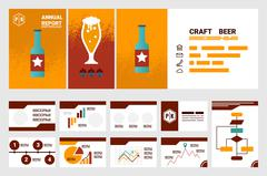 Craft beer company annual report cover A4 sheet and presentation template Stock Illustration