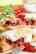 Berry fruit cake with cream cheese Stock Photos