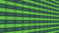 Statistics data for analytical review of trading period, indices rise and drop - stock footage