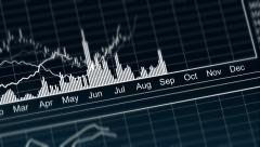 Stock Video Footage of Curves going up and down on chart, presentation of annual financial statement