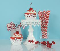 Christmas holiday dessert party food with red and white theme red velvet, cre - stock photo