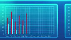 Animated charts in annual export and import report, international trade outlook Stock Footage