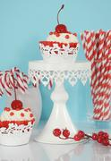 Christmas holiday dessert party food with red and white theme red velvet, cre Stock Photos