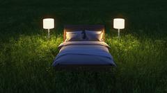 Bed in night field Stock Illustration