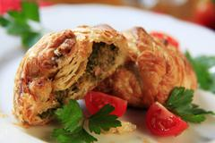 Savory pastry from Malta filled with ricotta or mushy peas - stock photo
