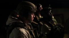 Men in gun training at night (HD) Stock Footage