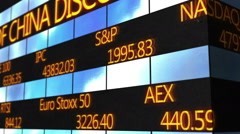 Computer generated animation of scrolling text running on stock market ticker - stock footage