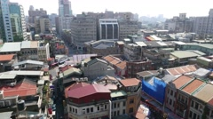 Taipei downtown skyline, roofs and panorama of cityscape, horizon aerial Stock Footage