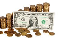 Gold money stack macro - stock photo
