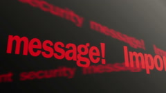 Important security message. Antivirus system alert. Red text running on display - stock footage