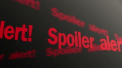 Stock Video Footage of Spoiler alert text running on TV screen. Plot reveal warning in articles, films