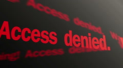 Warning, access denied red text running on display. Biometric control system - stock footage