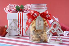 Jar of Star Shaped Shortbread Cookies. - stock photo
