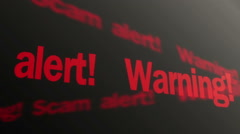 Warning, scam alert text running on PC display. Data theft prevention, security - stock footage