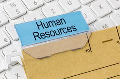 Stock Photo of A brown file folder labeled with Human Resources