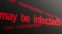 Warning, your computer may be infected. Security system alert. Red text running - stock footage