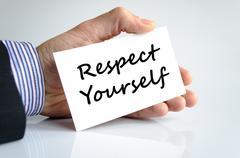 Respect yourself text concept Stock Photos