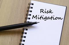 Risk mitigation write on notebook Stock Photos