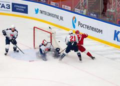 V. Solodukhin (17) attack, M. Osipov (21) defend - stock photo