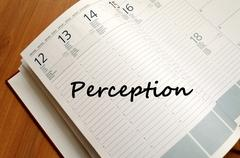 Perception write on notebook - stock photo