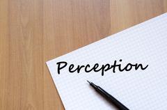 Perception write on notebook - stock photo