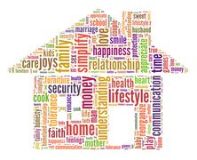 Home and family word cloud concept - stock illustration