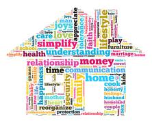 Home and family word cloud concept Stock Illustration