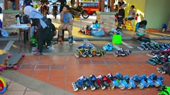 Roller skates rental in public park. Taman Tasik Titiwangsa Stock Footage