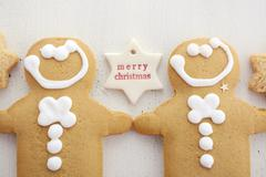 Christmas background with gingerbread borders. Stock Photos