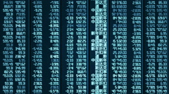 Stock Video Footage of Computer-generated shot of trade results updating on Chinese stock market board