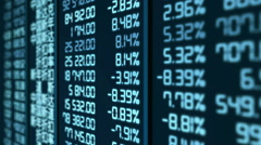 Stock market crash in China, pricing and quotes data updates on electronic board Stock Footage