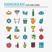 Jewish Hanukkah Colorful Flat Line Icons Set - stock illustration