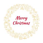Merry Christmas Gold Line Art Icons Circle Stock Illustration