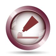 Tooth paste and brush icon. Internet button on white background.. - stock illustration