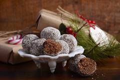 Traditional Christmas Rum Ball Candy. - stock photo