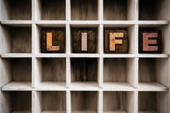 Life Concept Wooden Letterpress Type in Drawer - stock photo