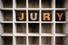 Stock Photo of Jury Concept Wooden Letterpress Type in Drawer
