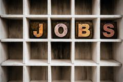 Jobs Concept Wooden Letterpress Type in Draw Stock Photos